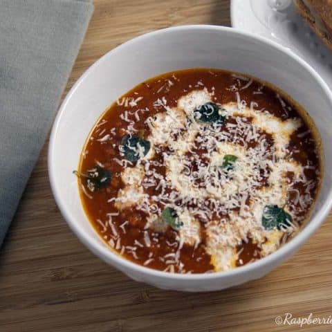 Oven roasted tomato soup in a white bowl