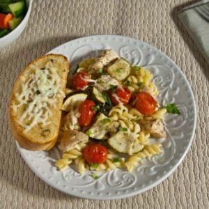 Lemony Sheet Pan Chicken with Zucchini and Tomatoes