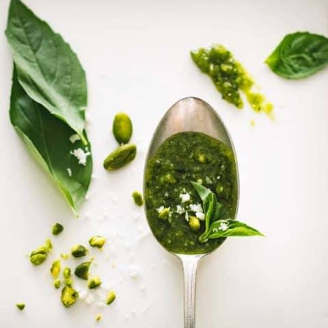 Fresh Herb Pesto on a spoon