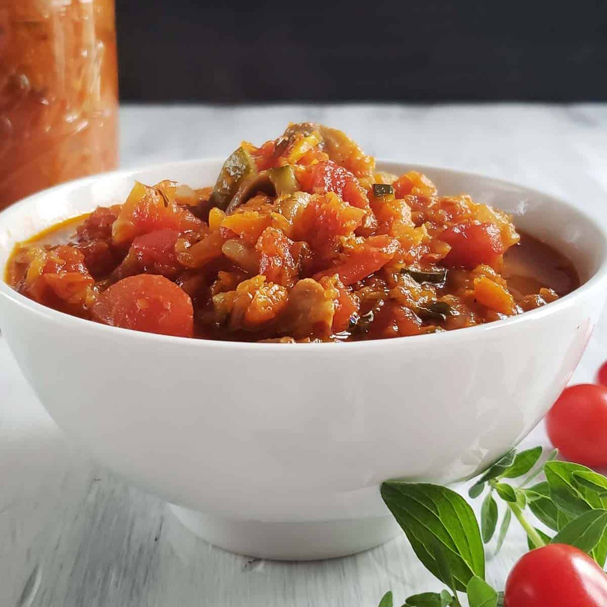 pasta sauce in a white bowl