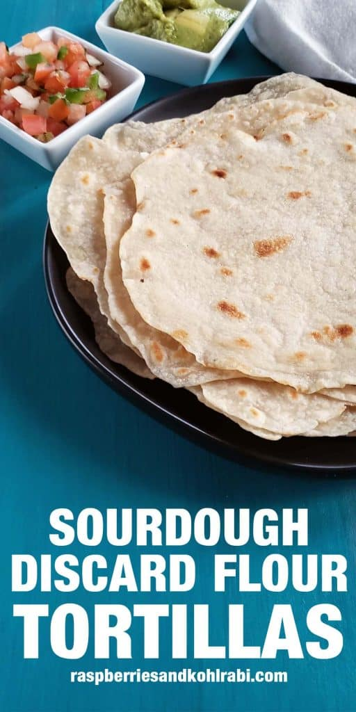 sourdough tortillas on a black plate on a bright blue background