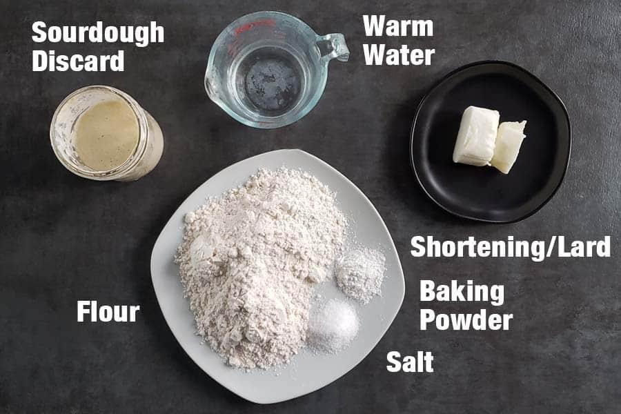 sourdough flour tortilla ingredients on a dark background
