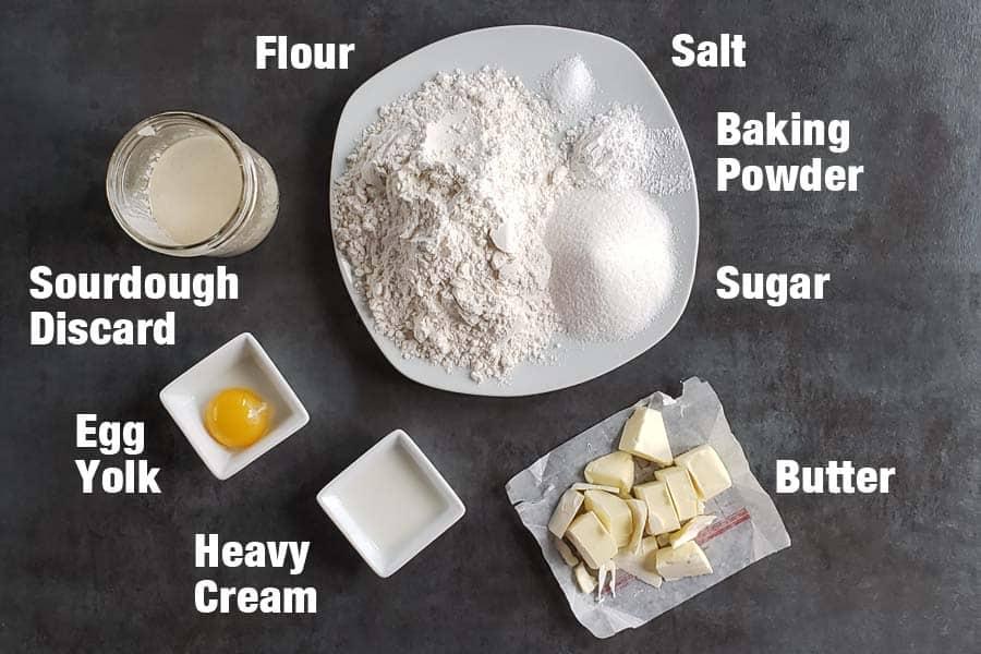 sourdough scones ingredients on a dark background