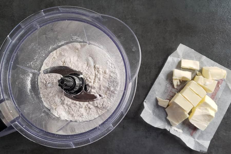 dry ingredients for scones in blender