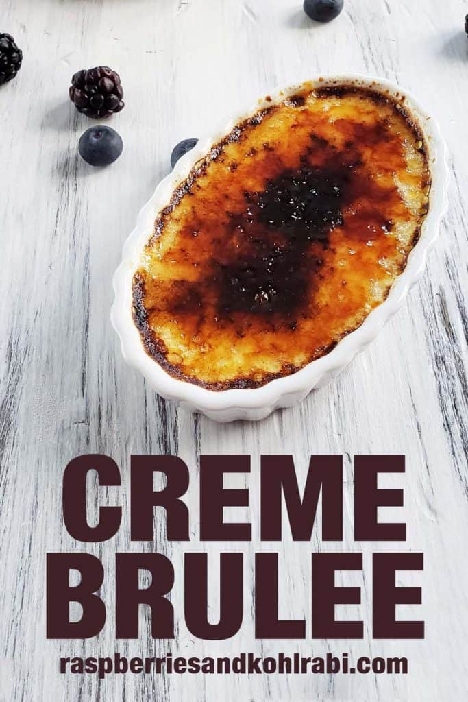close up of creme brulee on white background