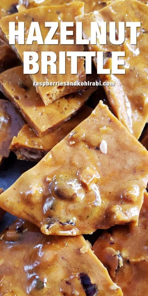 close up of hazelnut brittle pieces