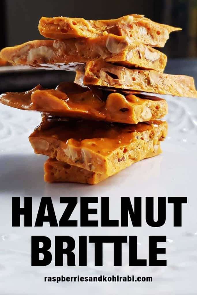 pieces of hazelnut brittle stacked on top of each other