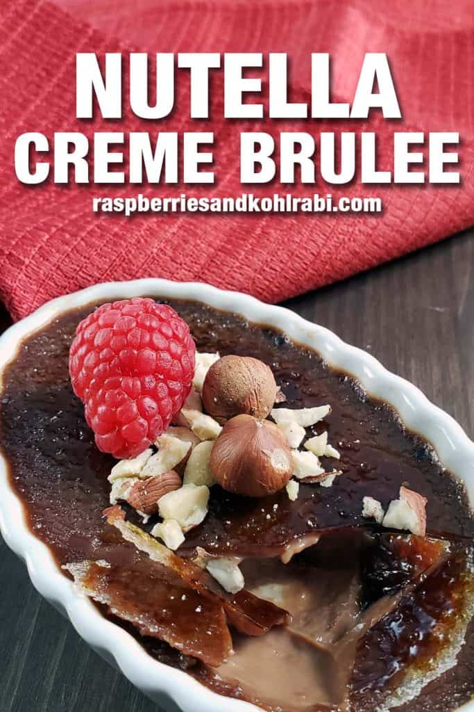nutella creme brulee on a dark wood background