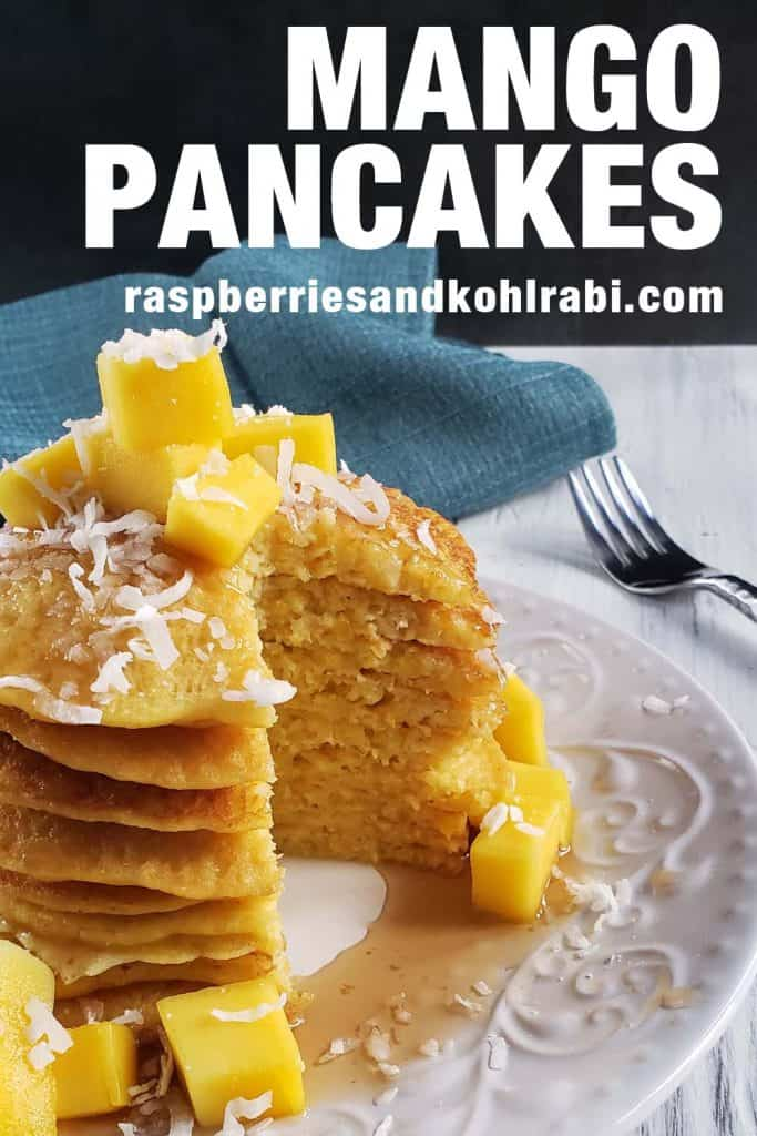 stack of mango pancakes on a white plate