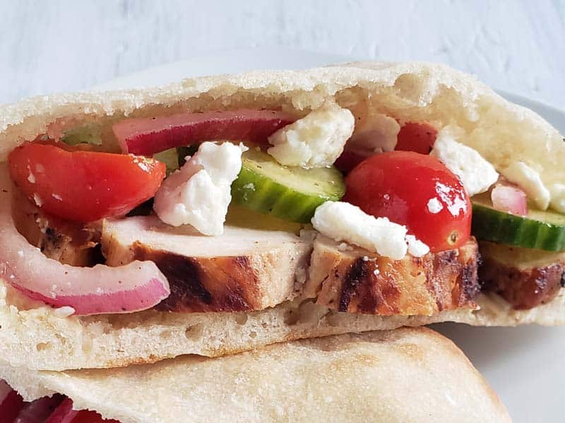 pita bread stuffed with chicken and cucumber salad