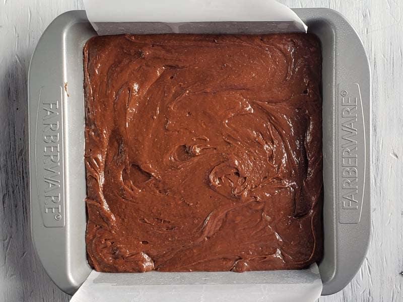 nutella brownie batter in metal pan