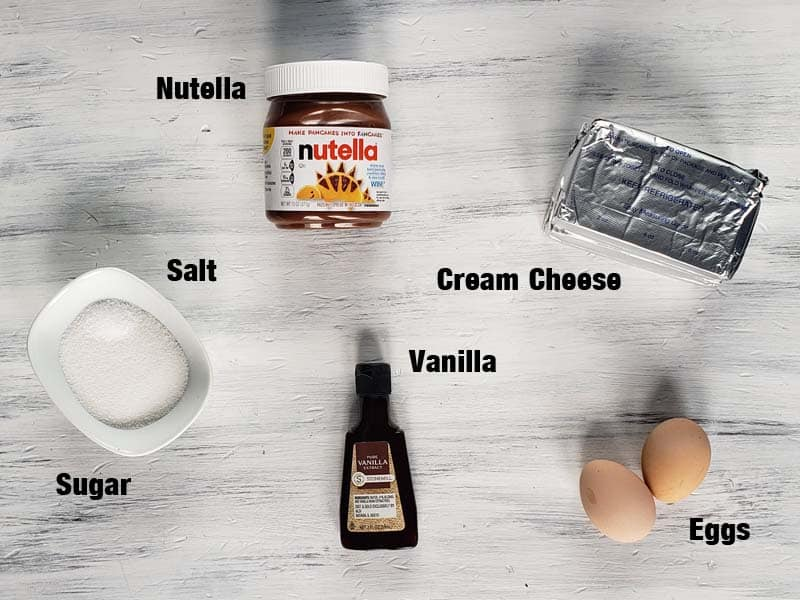 cream cheese layer ingredients on a white background