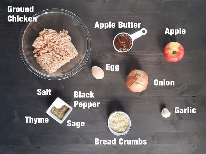 chicken apple meatball ingredients on a dark background