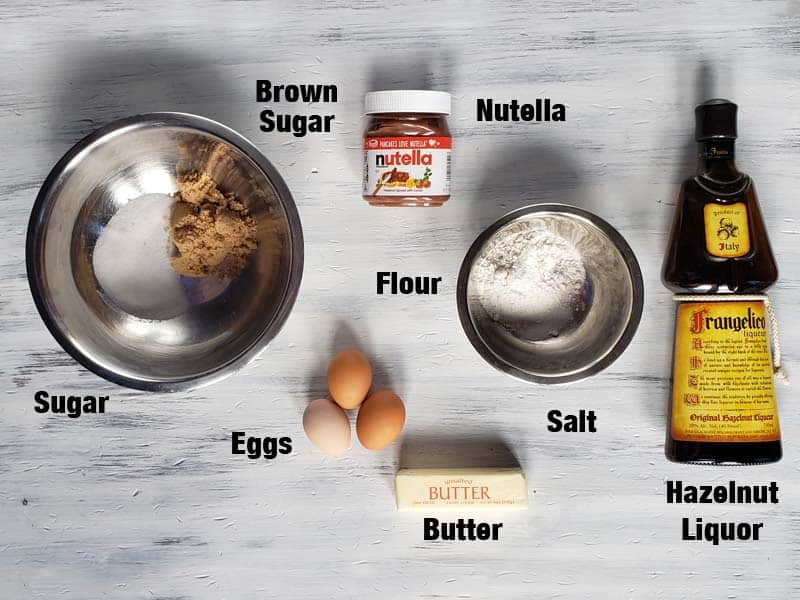 Nutella brownie ingredients on a white background