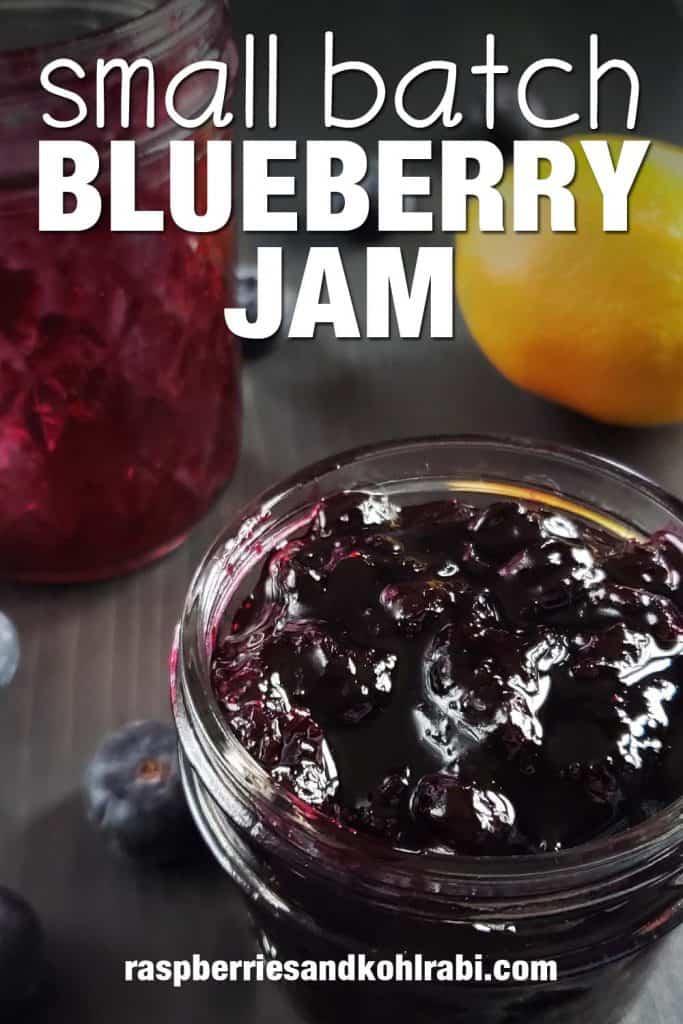 jar of blueberry jam on a dark background