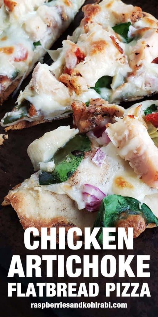 close up of chicken artichoke flatbread pizza slice