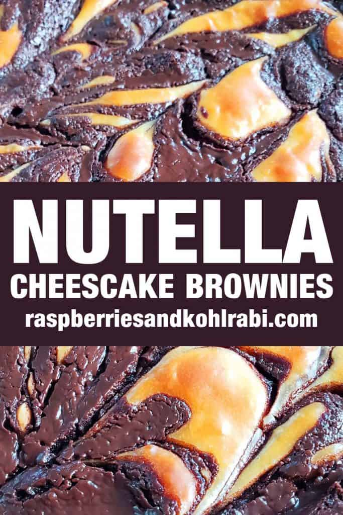 close up of the top of Nutella Cheescake brownies