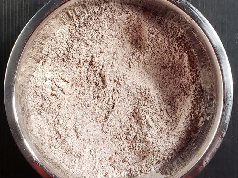 dry ingredients in a metal bowl