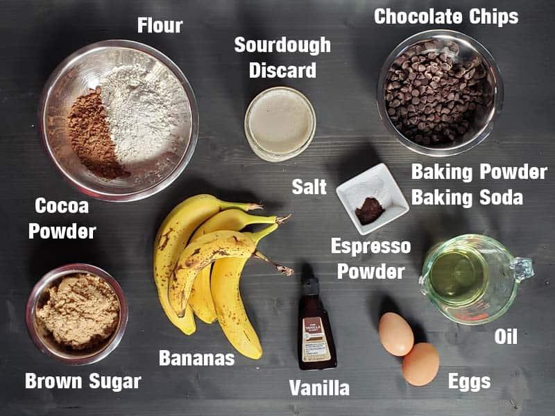 sourdough chocolate banana bread ingredients
