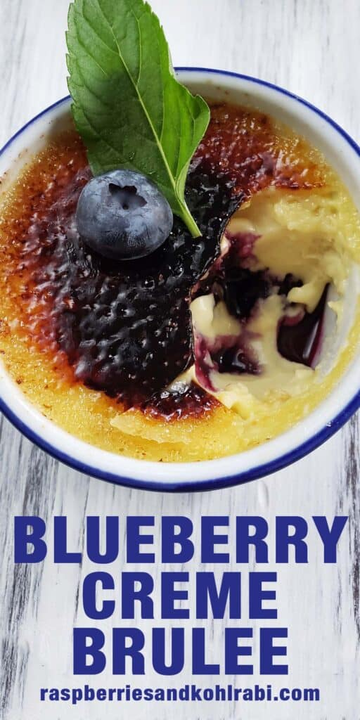 close up of blueberry creme brulee with a bite taken out