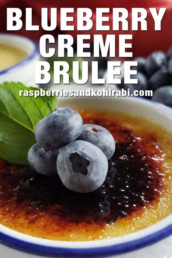 close up of creme brulee topped with blueberries
