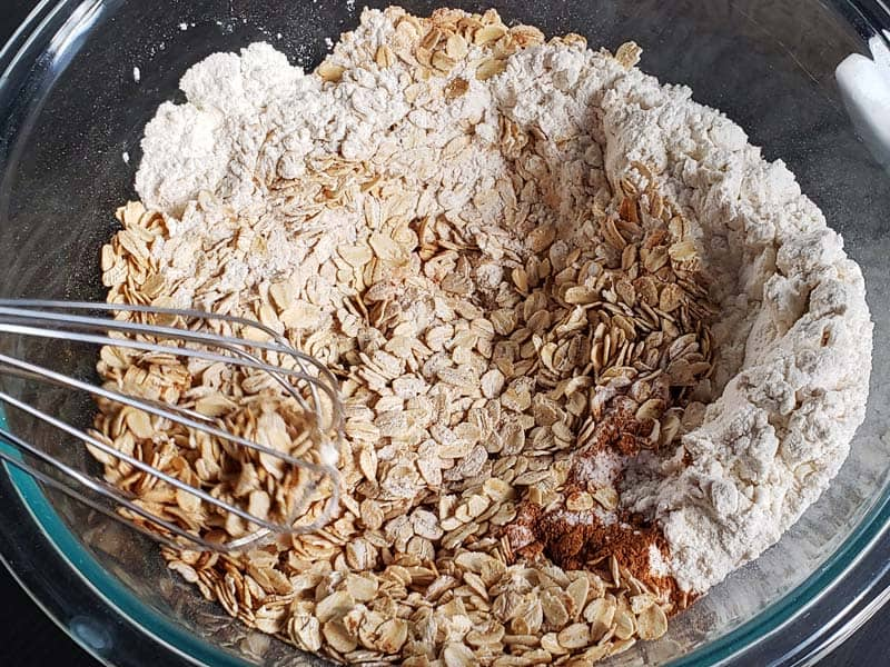 sourdough oatmeal cookie dry ingredients in a glass bowl