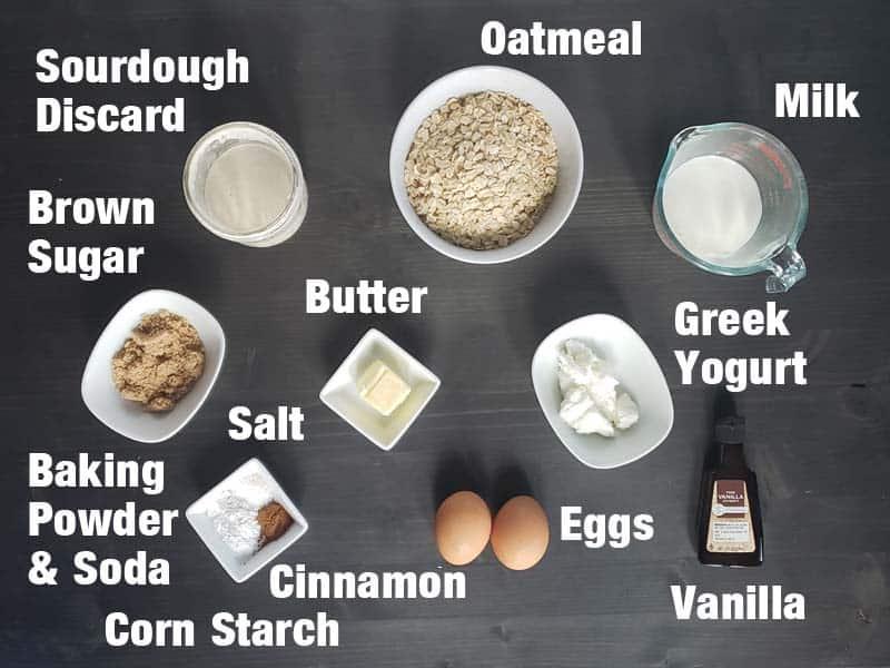sourdough oatmeal pancake ingredients