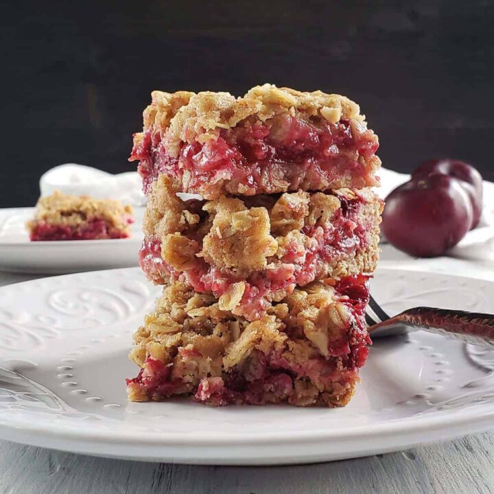 stack of three plum bars on a white plate