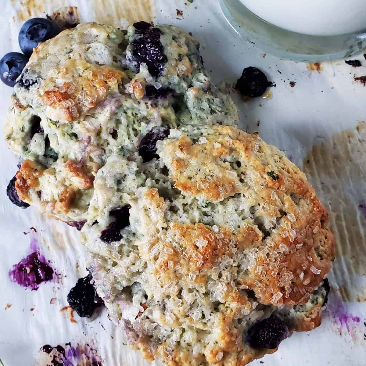 close up of two sourdough blueberry thyme scones on white paper