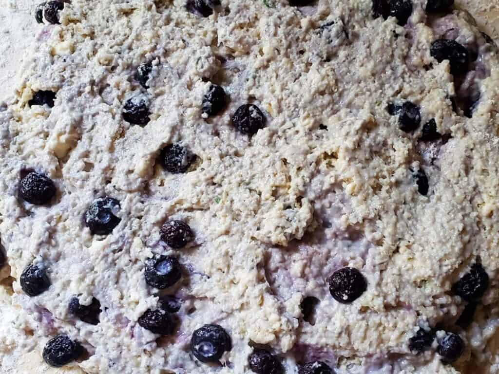 scone dough patted into 1 inch thick disk