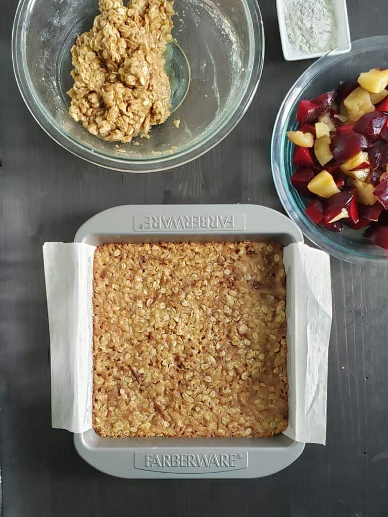 baked oatmeal sugar and butter in a metal pan