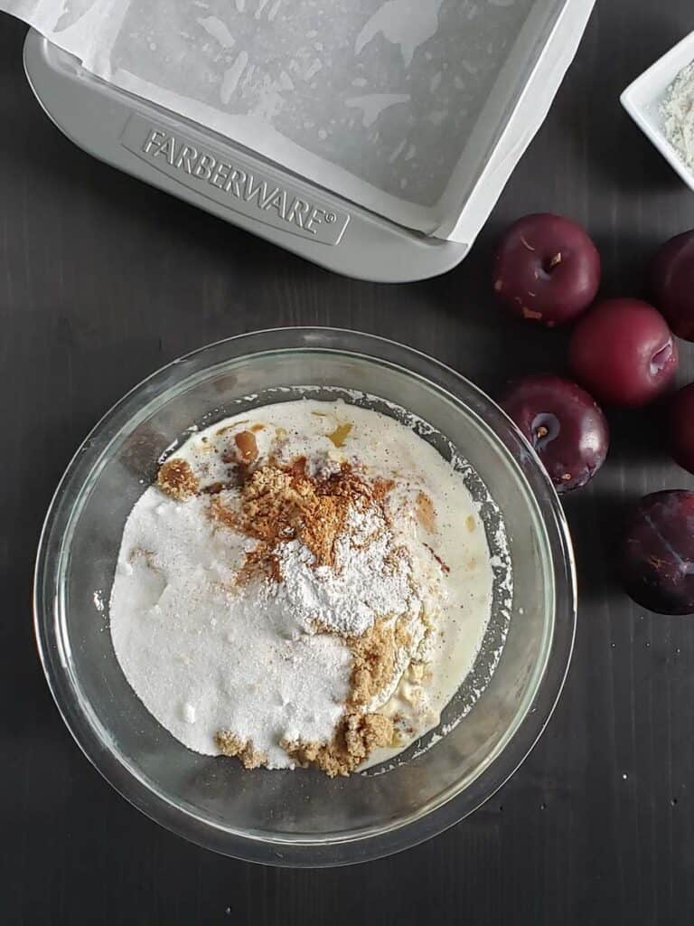 plum bar ingredients in a glass bowl