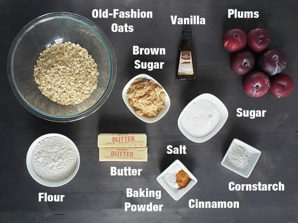 plum bar ingredients on a dark surface
