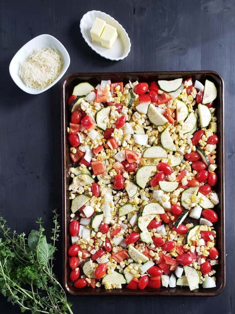mixed vegetables on a sheet pan