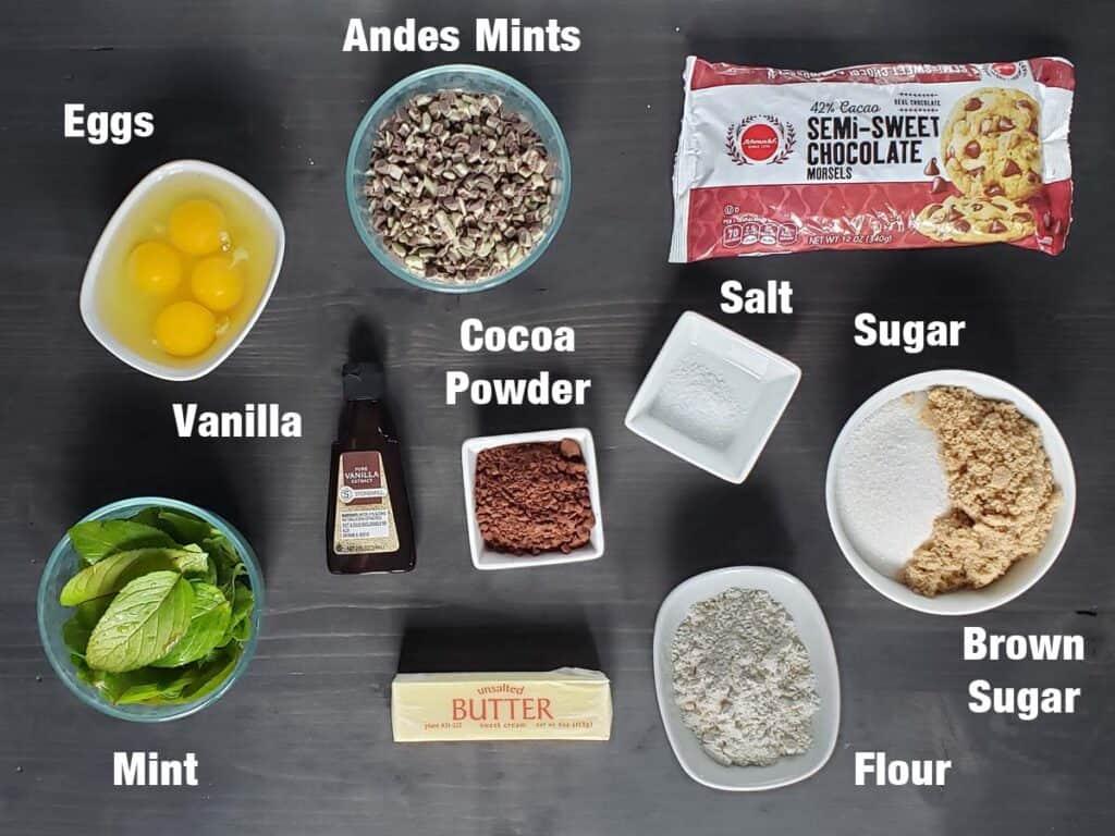 fresh mint brownie ingredients