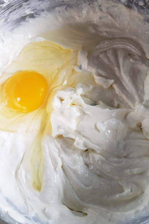 cream cheese filling and egg in metal bowl