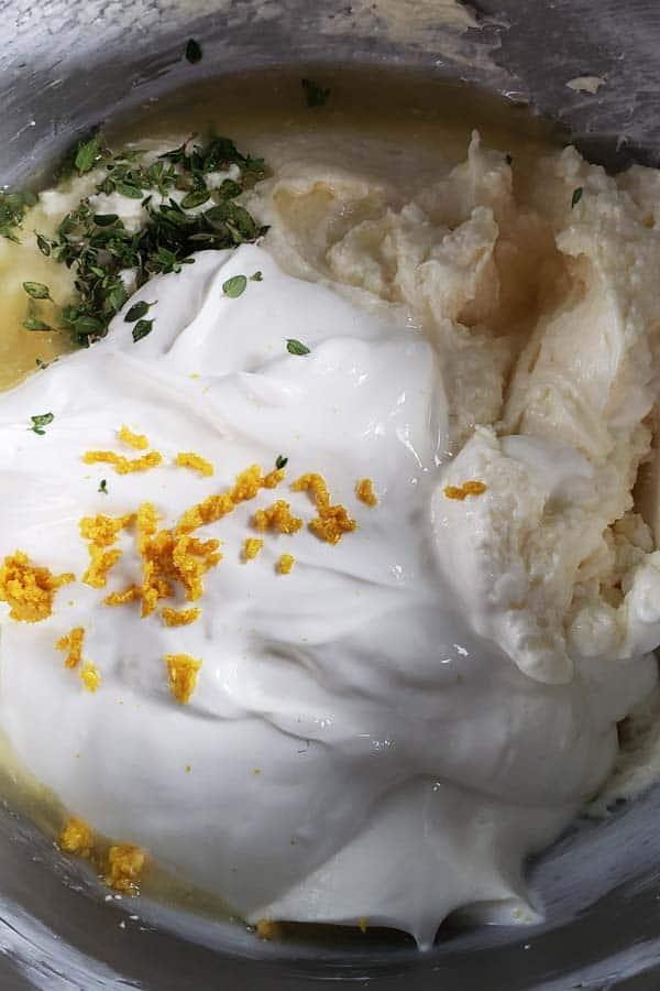 cheesecake ingredients in metal bowl