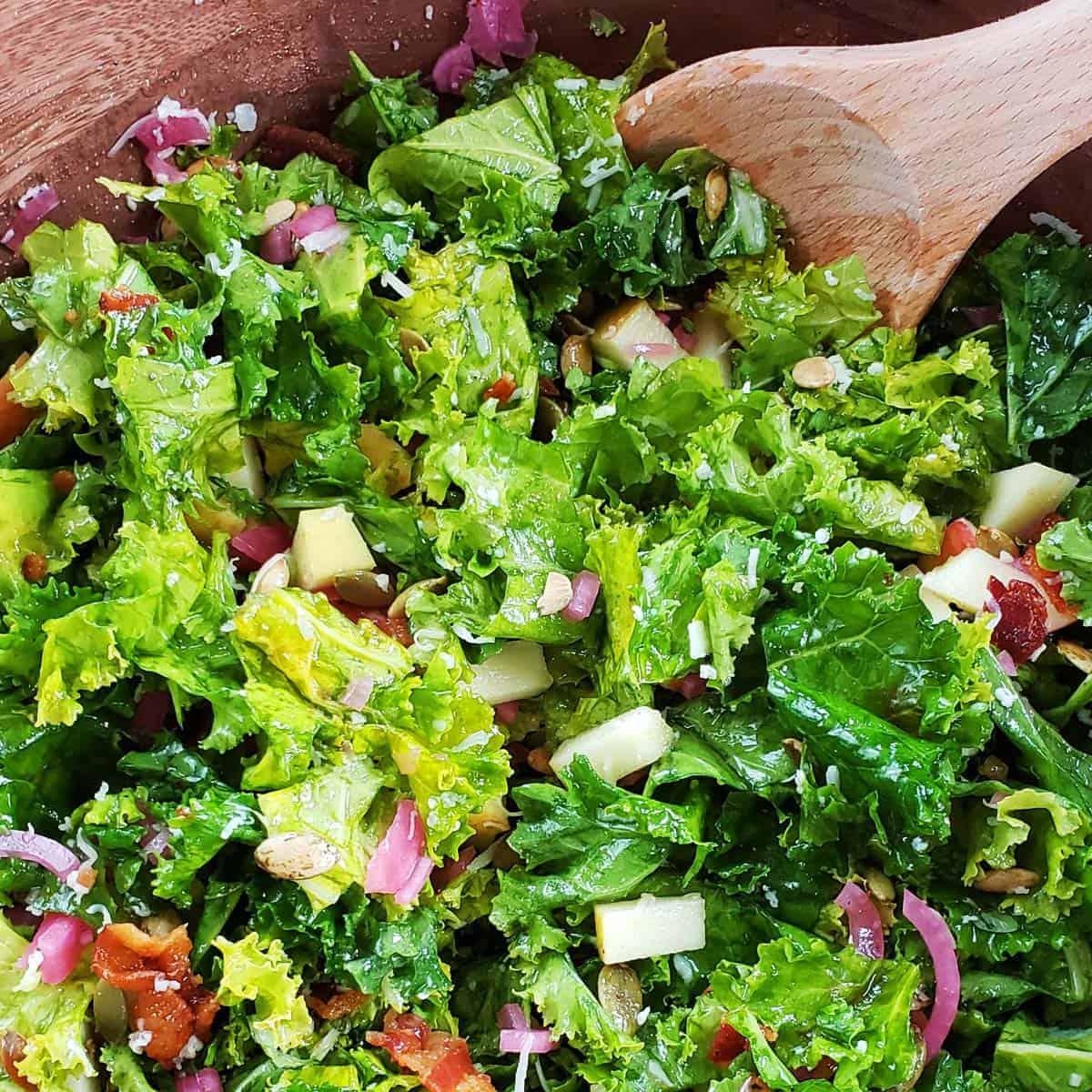 Kale Apple Salad with Honey Dressing