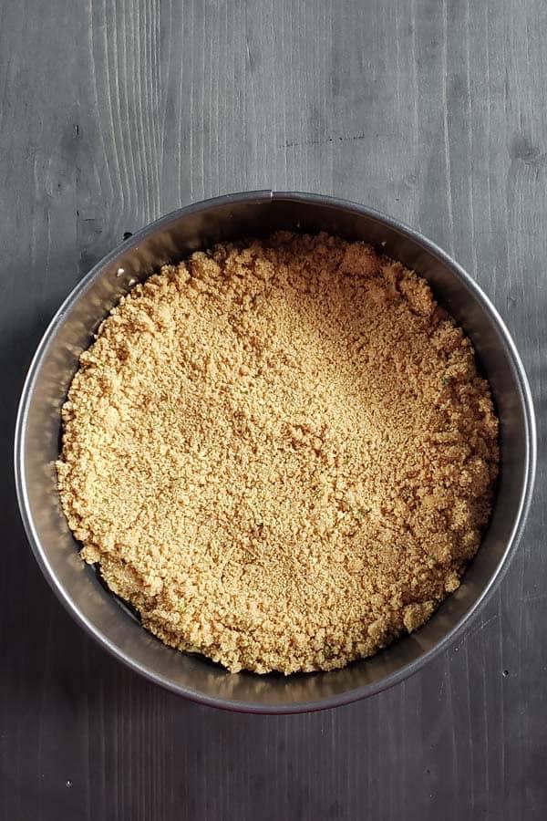 graham cracker crumbs in pan