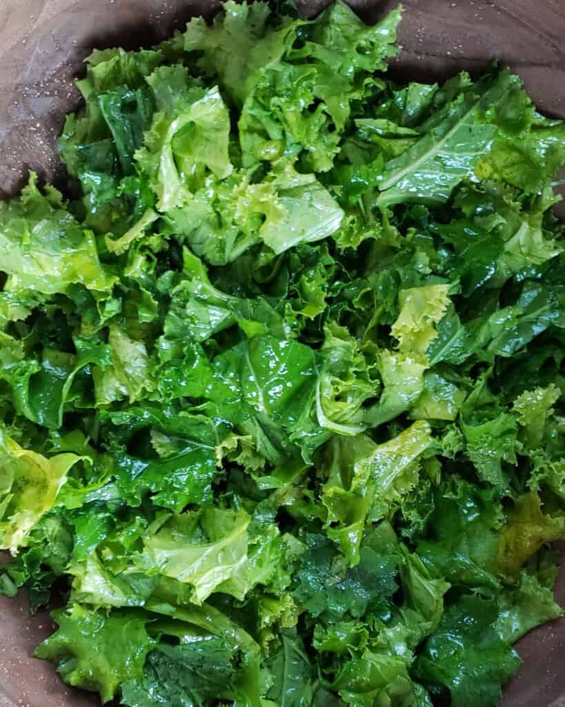 kale massaged with dressing
