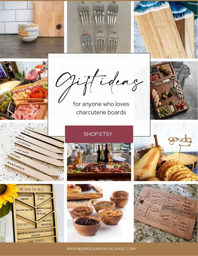 collage of charcuterie based gifts