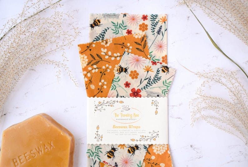 set of three beeswax wraps on a white surface