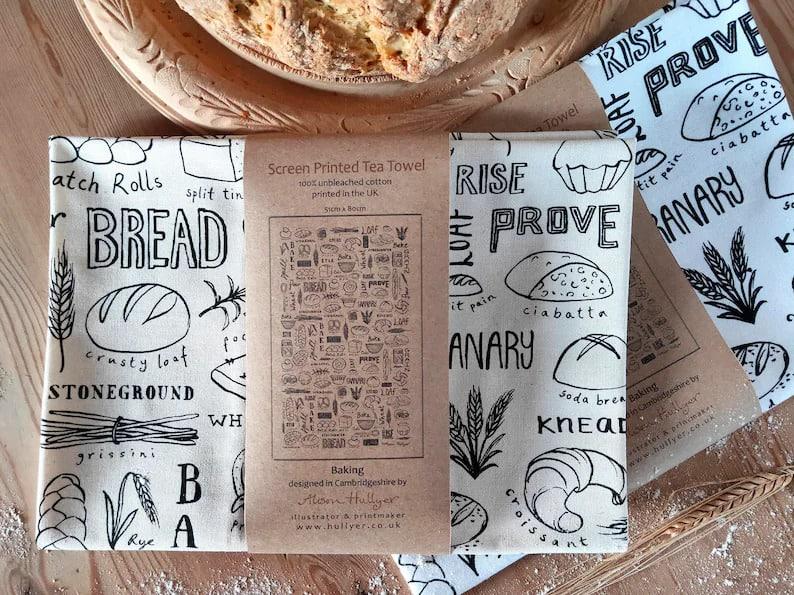 tea towel with drawings of bread