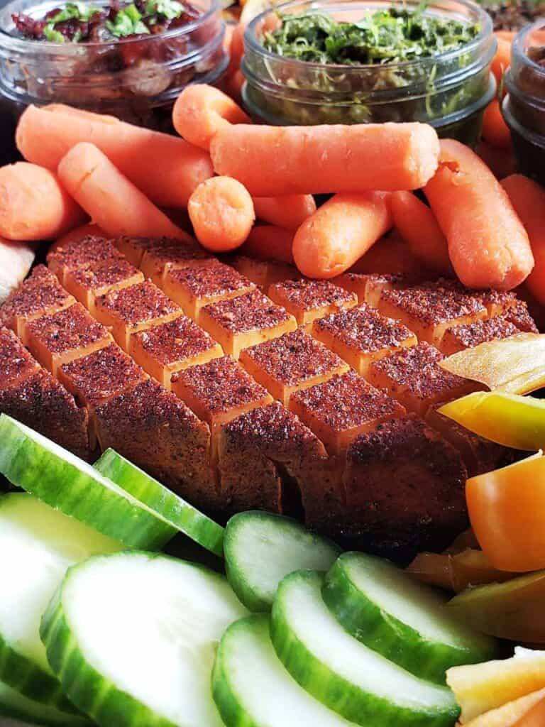 close up of smoked cream cheese and veggies
