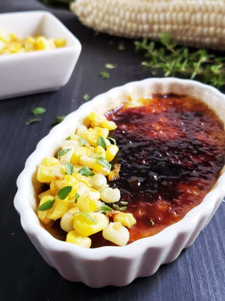 close up of sweet corn creme brulee