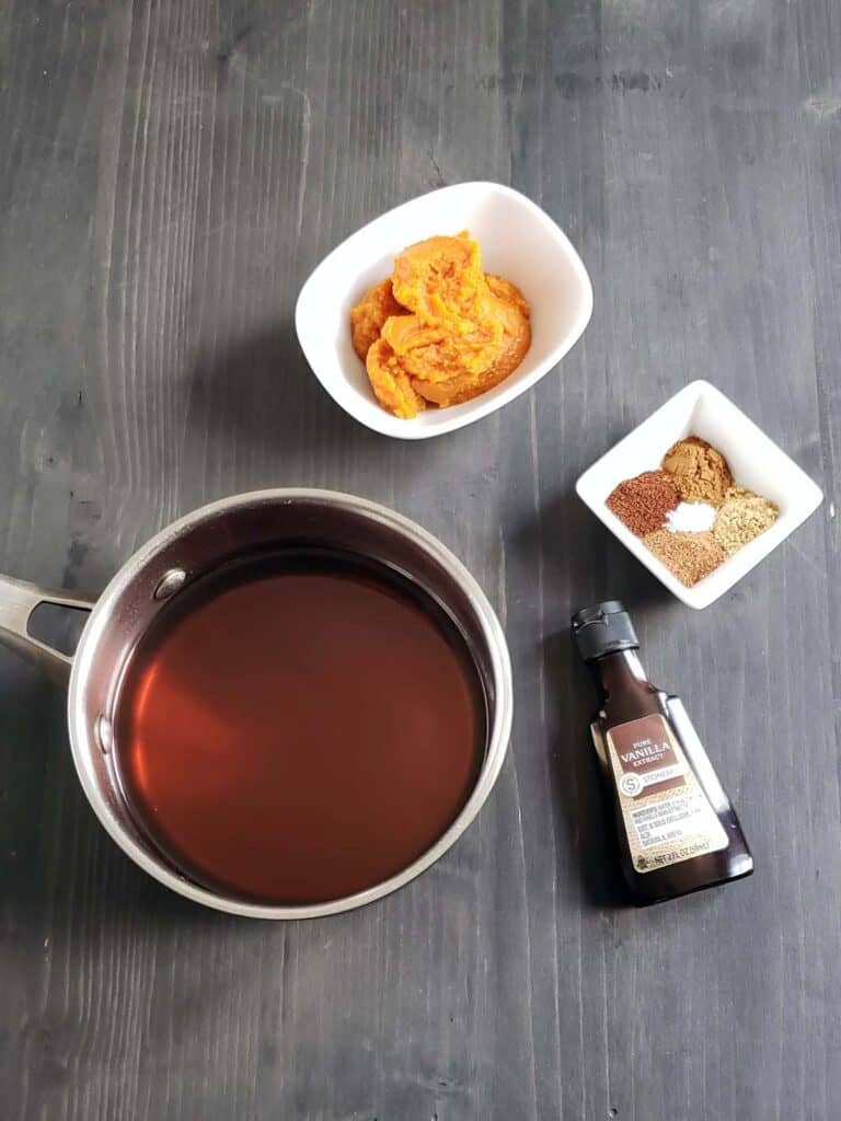 simmered pumpkin syrup in a sauce pan