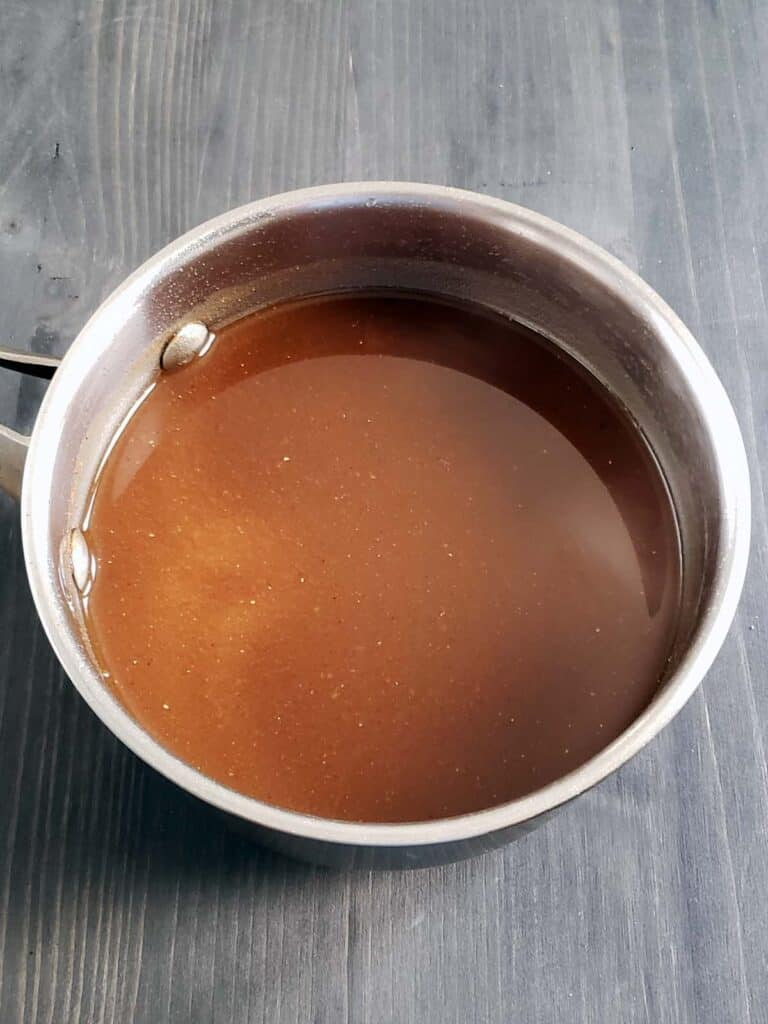 pumpkin spice syrup in a saucepan